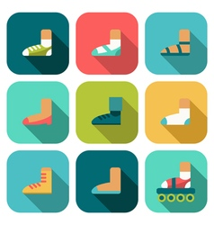 Set of flat shoes icons with shadow vector