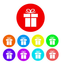 set of gift flat icon button stock vector image