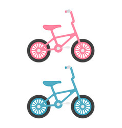 set of kids bicycles isolated on a white vector image