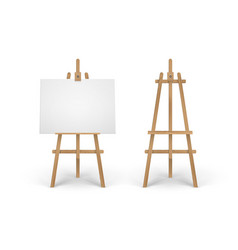set of wooden brown sienna easel with mock vector image