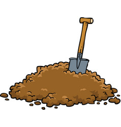 Shovel in a pile of earth vector