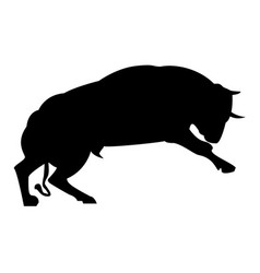 silhouette of a huge angry bull on a white vector image