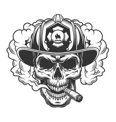 skull in smoke cloud vector image