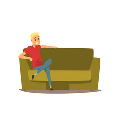 Smiling young man sitting on the couch vector