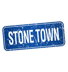 Stone town blue stamp isolated on white background vector