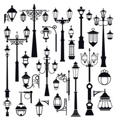 streetlight outdoor street and park lanterns vector image