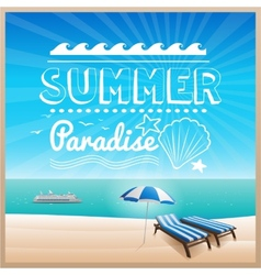 summer beach typography design background vector image
