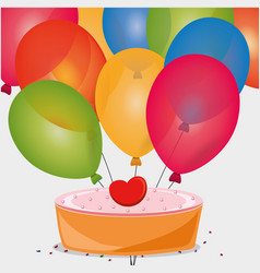 Sweet cake birthday heart balloons vector