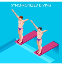 Synchronized Diving 2016 Summer Games 3D vector image