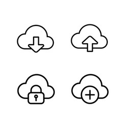 thin line cloud icons vector image