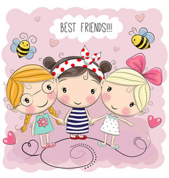 Three cute cartoon girls vector
