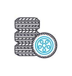 tire fitting thin line stroke icon tire vector image