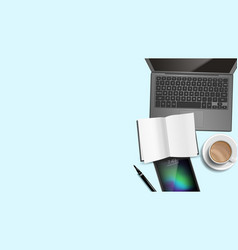 Top view office desk background working vector
