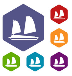 Vietnamese junk boat icons set vector