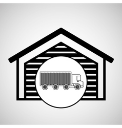 Warehouse building truck logistic delivery vector