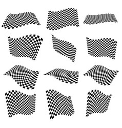Waving checkered flags surfaces 3d planes with vector