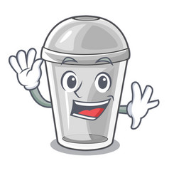 Waving plastic cup in the character image vector