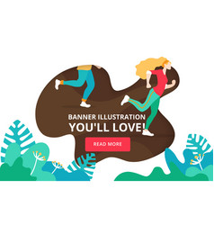 website landing page banner with exercise people vector image
