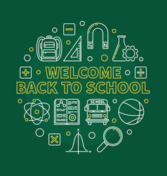 welcome back to school round linear vector image
