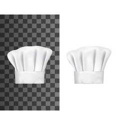 White chef hat cook cap or baker toque 3d mockups vector