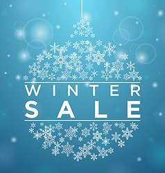 Winter sale in form of a ball of snowflakes vector image