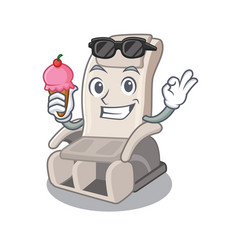 With ice cream massage chair in mascot shape vector