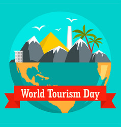 world tourism day holiday background flat style vector image