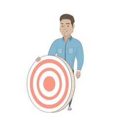 Young hispanic businessman and dart board vector