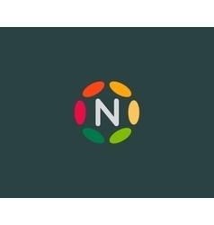 Color letter N logo icon design Hub frame vector image vector image