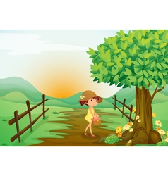 girl and landcape vector image vector image