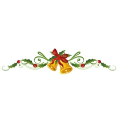 Holly bells christmas vector image