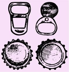 Set bottle caps metal ring pull vector