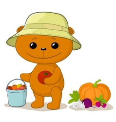 teddy bear gardener vector image vector image