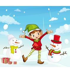 an elve and a snowman vector image