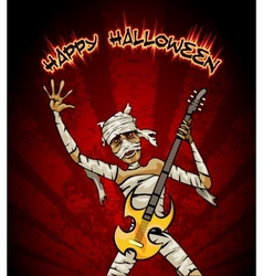 Halloween Graphic with Mummy Playing Guitar vector image vector image