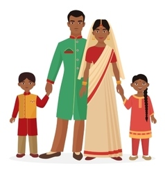 Indian family Indian man and woman with boy and vector image vector image