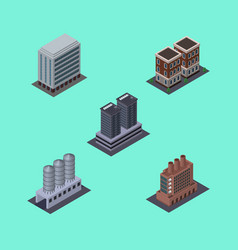 isometric building set of tower house water vector image vector image