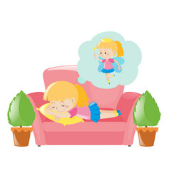 little girl dreaming about fairy vector image vector image