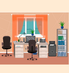 office interior workspace with furniture and vector image vector image