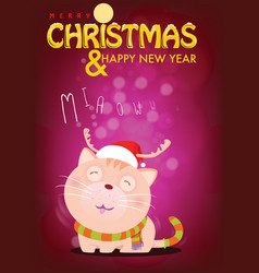 santa cat is waiting for love from pet owner vector image vector image