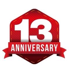 Thirteen year anniversary badge with red ribbon vector image vector image