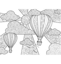 aeronautic balloon coloring book for adults vector image vector image