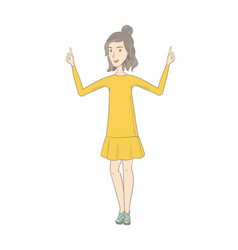 caucasian hippie woman standing with raised arms vector image