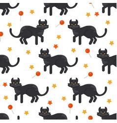 halloween black cat seamles pattern vector image