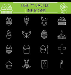 Happy easter line icon set vector