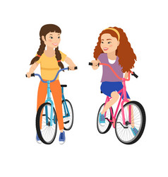 two smiling girls on bicycles isolated girl vector image