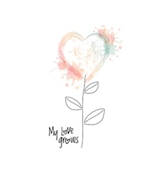 watercolour flower in form of a heart vector image