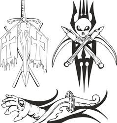 fantasy tattoo black and white sketches vector image