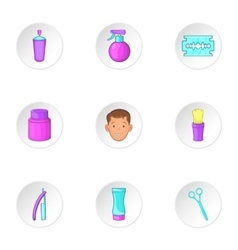 Hairstyle icons set cartoon style vector image vector image