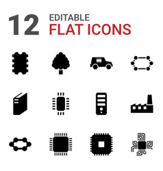 12 microchip icons vector image